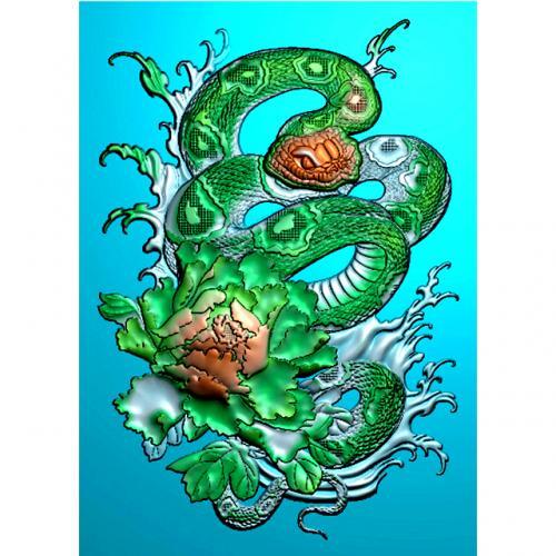 牡丹花蛇四六牌精雕图(SLP-0274)
