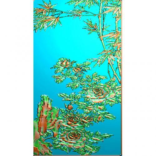 牡丹花四六牌精雕图(SLP-0275)