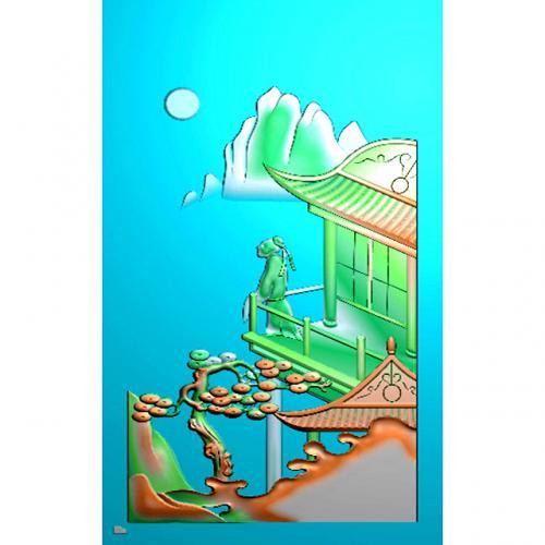 山水四六牌精雕图(SLP-0284)