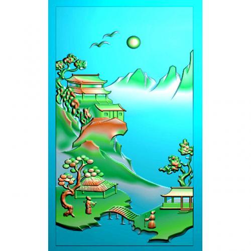 山水四六牌精雕图(SLP-0285)