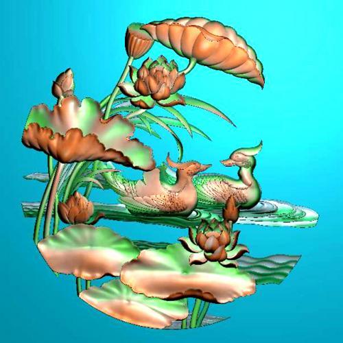 荷花鸳鸯浮雕图(HH-6010)