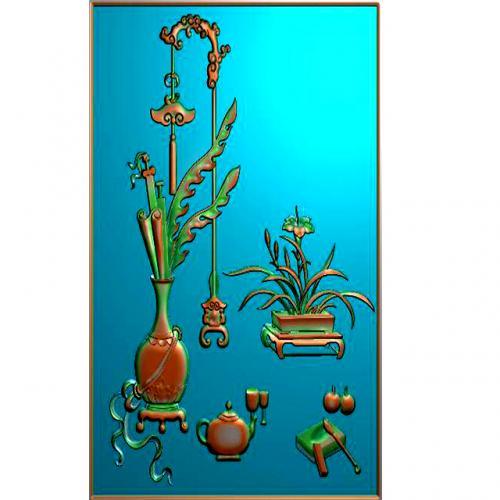 博古柜花瓶精雕图(HP-7046)