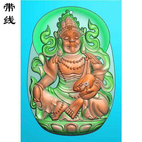 玉雕黄财神精雕图有线(CS-032)