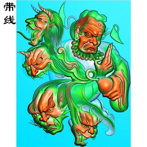 钟馗捉花心鬼精雕图有线(GG-023)