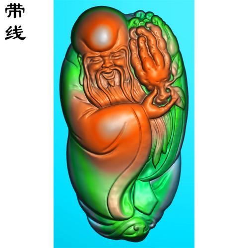 寿星捧佛手精雕图有线(SX-009)