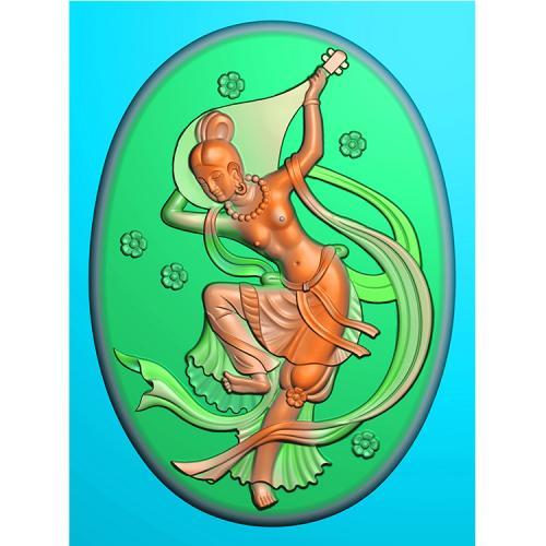 玉雕挂件飞天反弹琵琶美女精雕图(SV-035)
