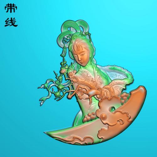 玉雕挂件美女寻梅精雕图有线(SV-037)