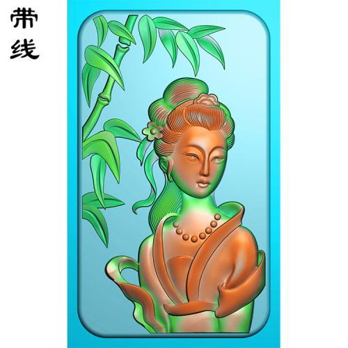 竹子仕女精雕图有线(SV-001)