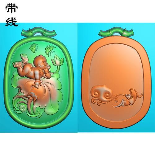 荷叶童子戏蝴蝶精雕图(TZ-005)