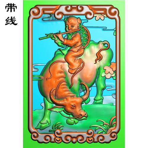 46牌子吹笛牧牛童精雕图有线(TZ-004)