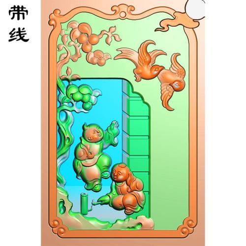 双童子精雕图有线(TZ-019)