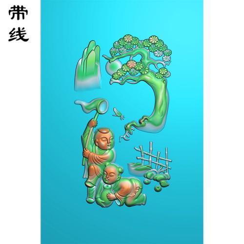 玉雕童子扑蝴蝶精雕图有线(TZ-001)