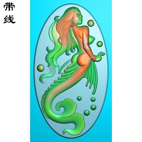 玉雕挂件美人鱼精雕图(XDR-001)