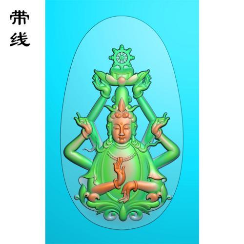 六臂千手佛手观音精雕图(QGY-004)
