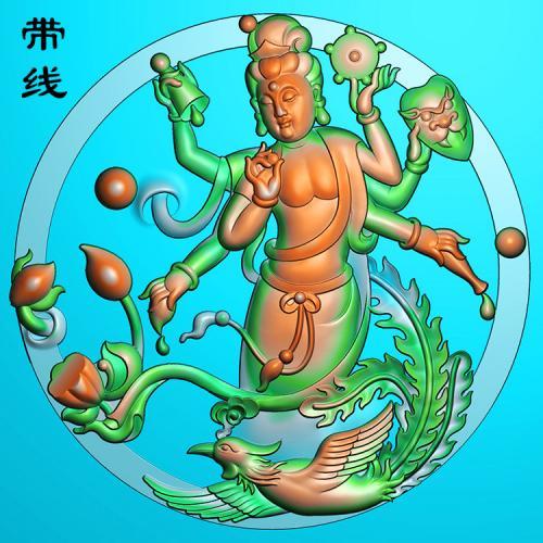 凤凰千手观音圆牌精雕图(QGY-009)