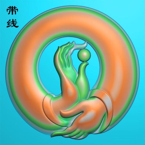 圆盘镂空佛手捏珠精雕图有线(FS-004)