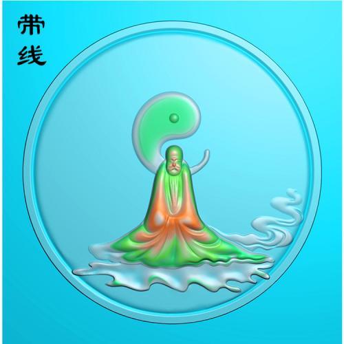 悟道达摩佛像精雕图有线(DFX-067
