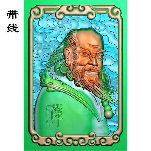 达摩禅底云牌子精雕图(DF-008)