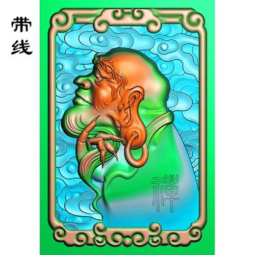 侧脸达摩禅底云牌子精雕图(DF-009)