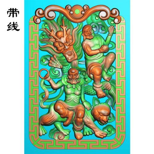 降龙罗汉精雕图(LH-002)
