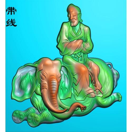 罗汉骑象精雕图(LH-015)