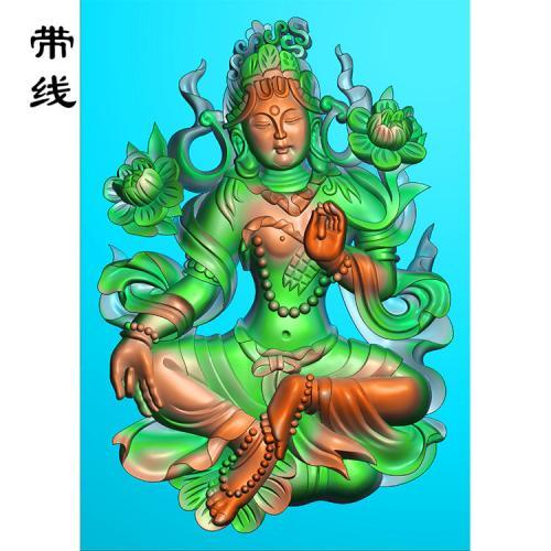 藏传佛教绿度母精雕图有线(ZF-003)