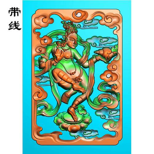 藏式人物藏佛精雕图(ZF-005)