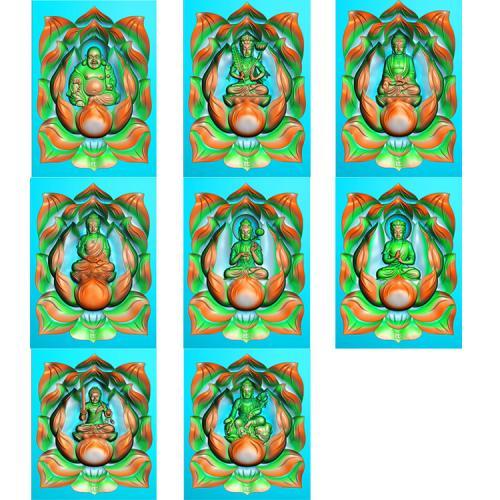 莲花底八大守护神精雕图(SHS-003)