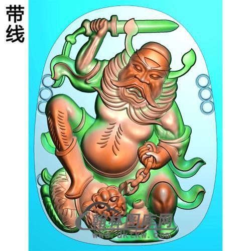 钟馗挂件精雕图(ZK-043)