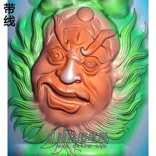 钟馗头像挂件精雕图(ZK-038)