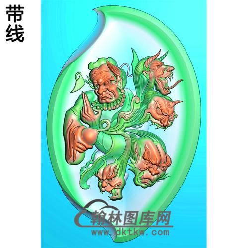 钟馗抓鬼挂件精雕图(ZK-042)