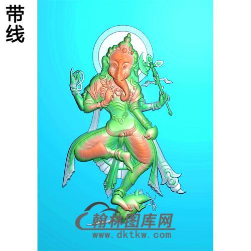 双面大圣欢喜天象鼻财神挂件精雕图(XS-013)
