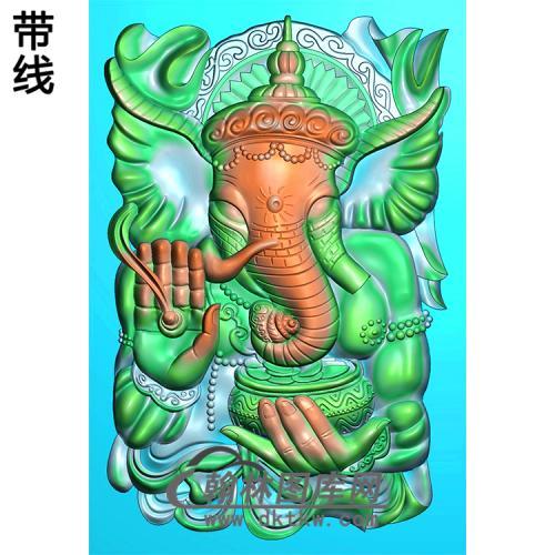 象神46牌挂件精雕图(XS-014)