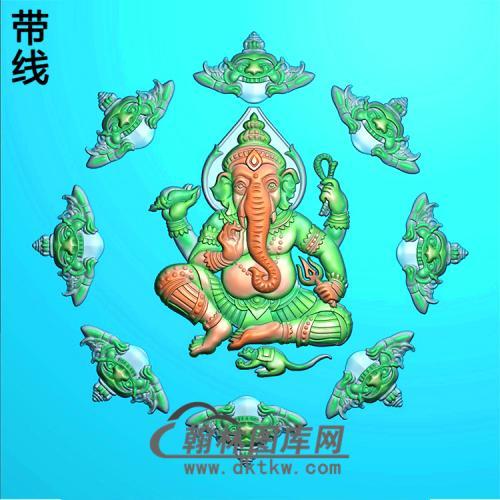 象头神挂件精雕图(XS-011)