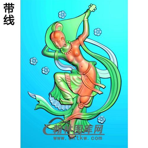 弹琵琶侍女美女精雕图(SV-022)