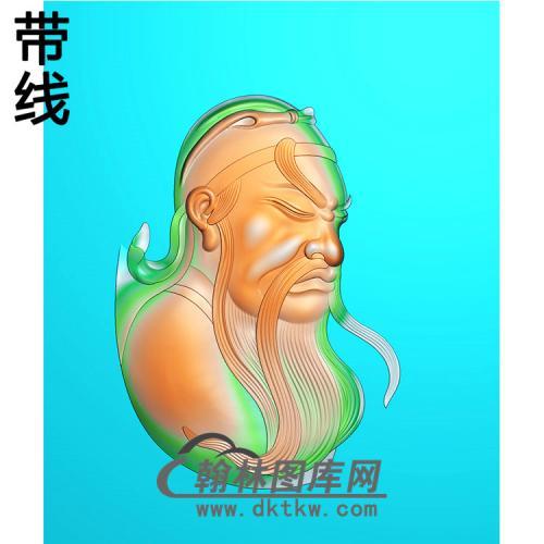 侧脸关公精雕图(CG-169)