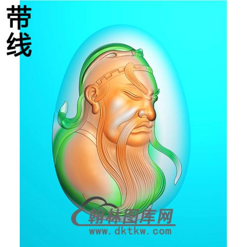 鼓起侧脸关公精雕图(CG-170)