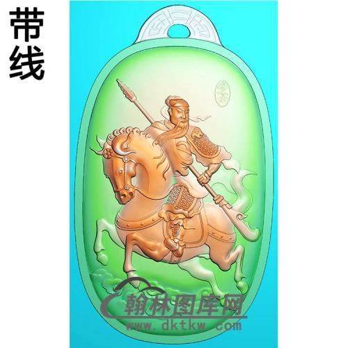 骑马关公椭圆挂件精雕图(CG-218)