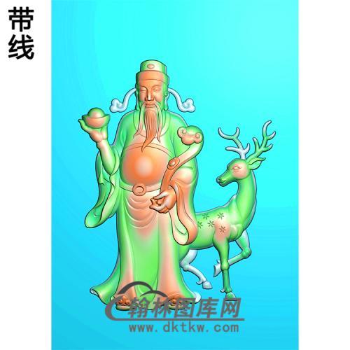 鹿福禄财神精雕图(CS-039)
