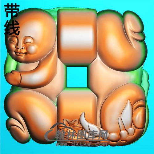 童子平安扣精雕图(PAK-155)