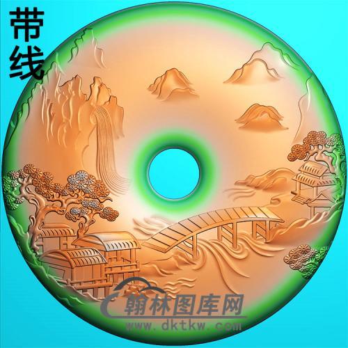 山水平安扣精雕图(PAK-163)