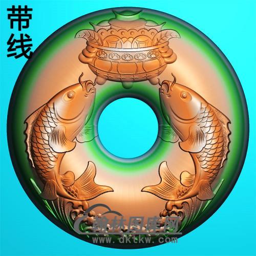 双鱼献宝平安扣精雕图(PAK-183)