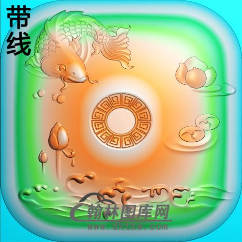 方形鱼平安扣精雕图(PAK-188)