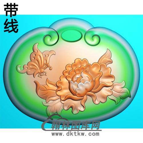 蝴蝶牡丹长命锁精雕图平安锁精雕图(CMS-134))