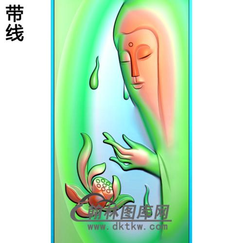 莲花半身头像观音菩萨精品挂件精雕图(BGY-218)