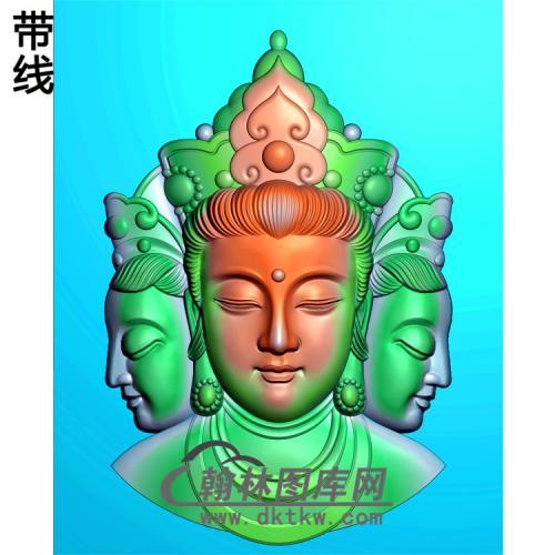 三头观音菩萨精品挂件精雕图(BGY-180)