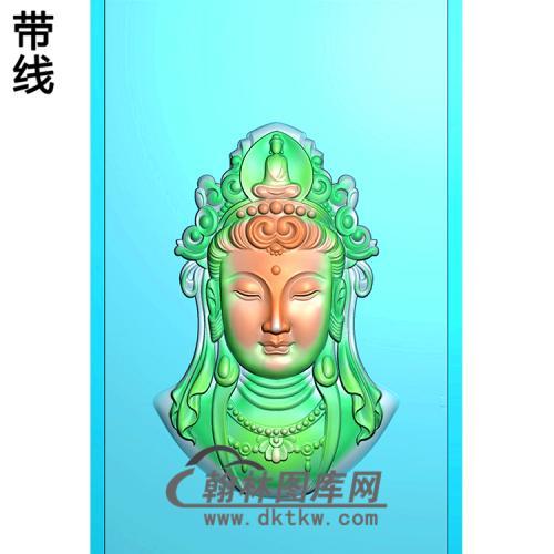戴冠观音菩萨头像精品挂件精雕图(BGY-515)