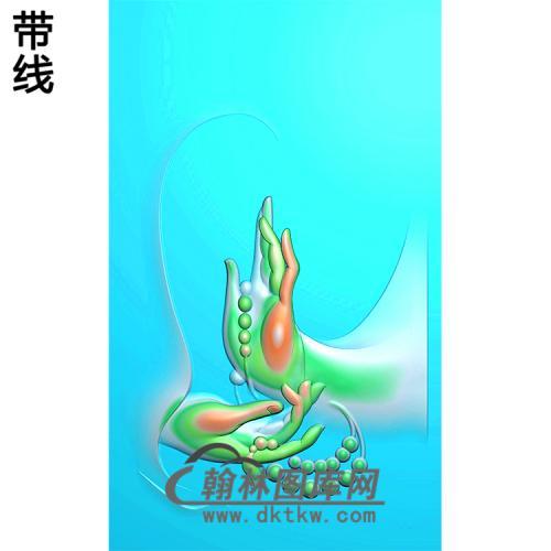观音佛手挂件浮雕图(FS-021)