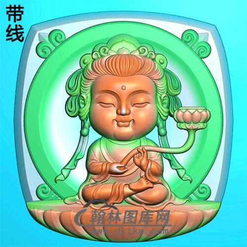 方形持莲宝宝观音精雕图(IGY-008)