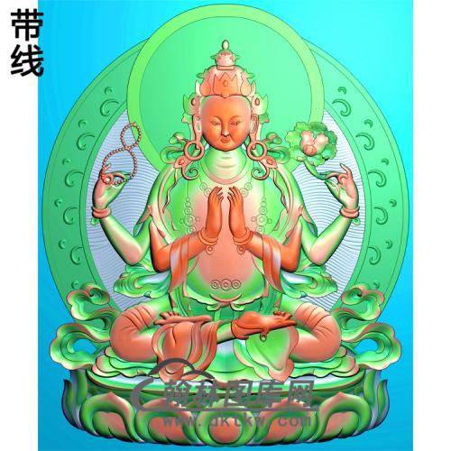 藏佛多臂观音精雕图(DGY-015)